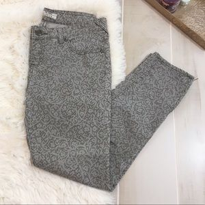 Free People Grey Lace Printed Cropped Skinny Jeans